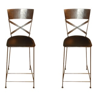 """X"" Back Barstools - A Pair"