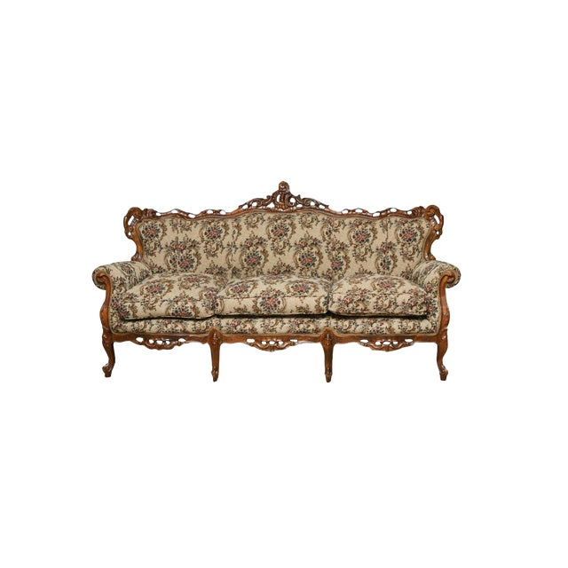 Victorian Style Decorative Floral Upholstered Parlor Sofa - Image 1 of 3