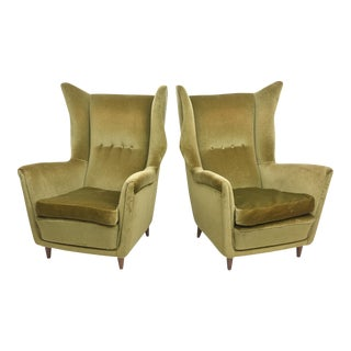 Large and Imposing Pair of Italian Modern Lounge Chairs in Gio Ponti Style