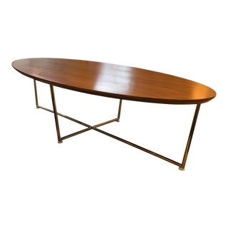 HD Buttercup Walnut Oval & Stainless Base Coffee Table