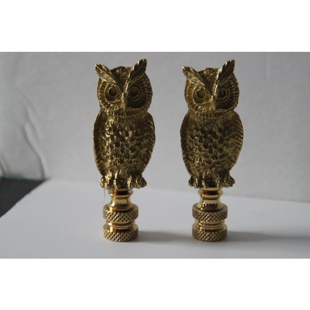 Image of Brass Owl Lamp Finials- A Pair