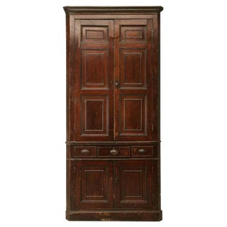 Circa 1780 Antique English Georgian Faux Grained Pine Corner Cupboard