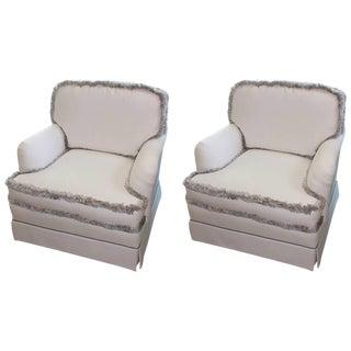 English White & Silver Fringe Club Chairs - A Pair