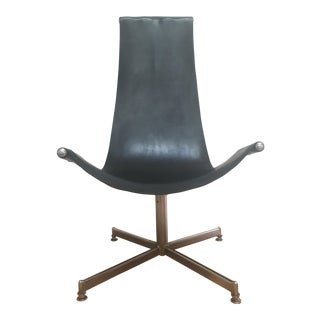 Mid-Century Leather & Chrome Swivel Sling Chair
