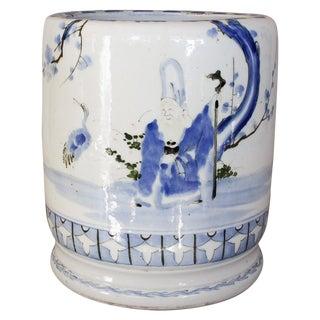Antique Japanese Fukurokuju Ceramic Hibachi