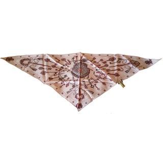Hermes Pink Keys Triangle Scarf