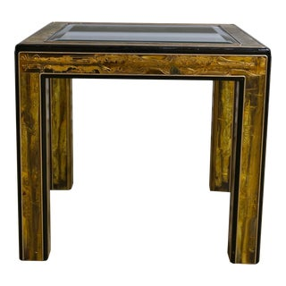 Bernhard Rohne Mastercraft Acid Etched Brass & Ebonized Side Table