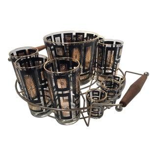 Mid-Century Gold & Black Starburst Bar Set & Carrier - Set of 13
