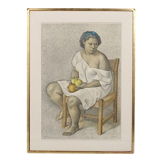 """Huge Francisco Zuniga """"Woman With Lemons"""" Mid-Century Signed/Numbered Ltd. Ed. Lithograph"""