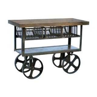 Industrial Iron Trolly With 3 Basket Drawers