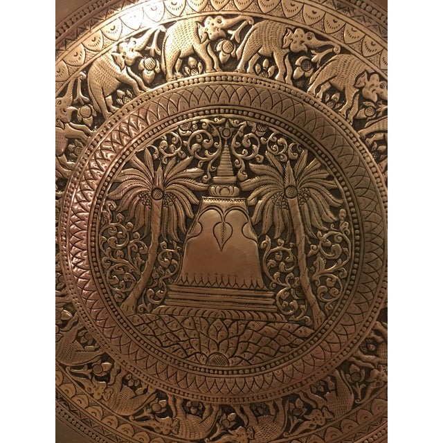 Hammered Brass Elephant Detailed Tray - Image 3 of 6