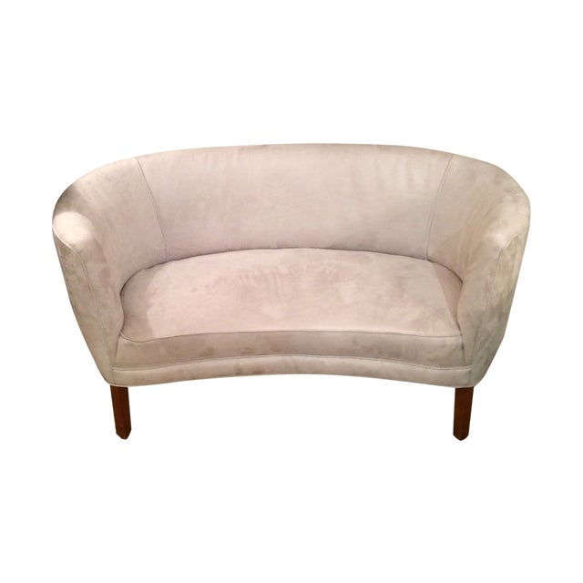 1940s curved grey suede loveseat chairish for Suede loveseat