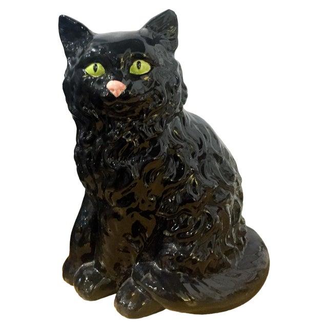 Image of Vintage Ceramic Black Cat Statue
