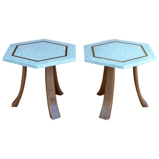 Harvey Probber Terrazzo Brass Top Tables - A Pair