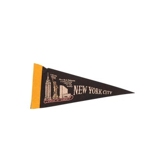 Black NYC New York Coliseum Empire State Felt Flag