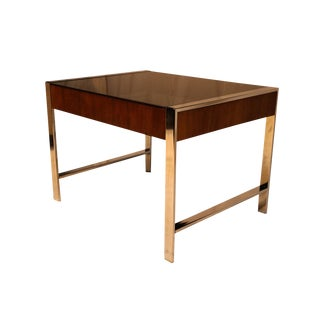 Mid Century Chrome Smoked Glass Side Table