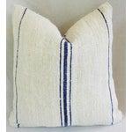 Image of French Blue Stripe Grain Sack Pillows - Pair