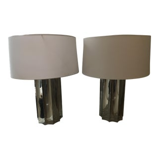 Polished Nickel Table Lamps - A Pair