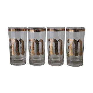 """Gilt """"M"""" Monogramed Glasses- Set of 4"""