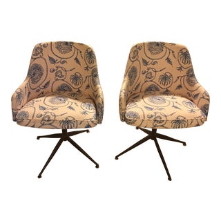 Mid-Century Mally Skok Upholstered Swivel Chairs - A Pair