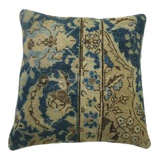 Blue Persian Tabriz Rug Pillow