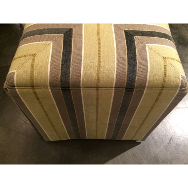 Pair of Upholstered Striped Cube Ottomans - Image 3 of 6