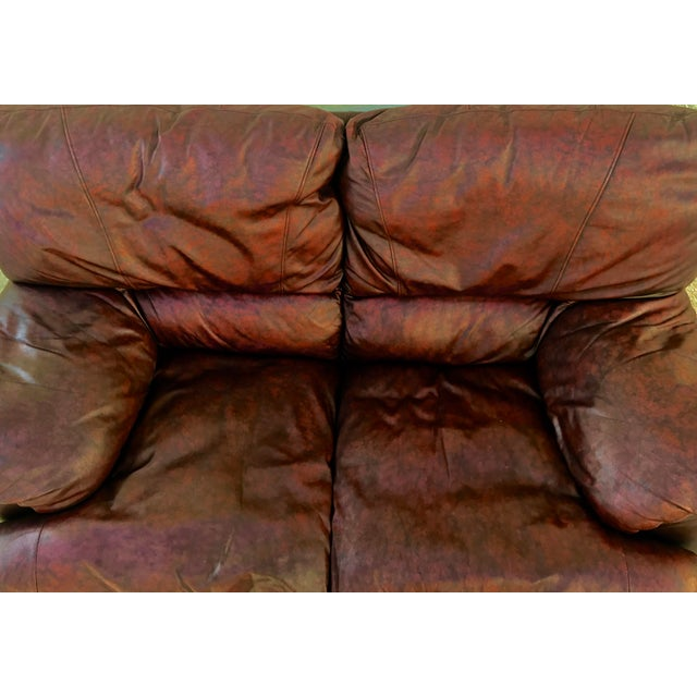 Klaussner Overstuffed Bonded Leather Loveseat - Image 10 of 10