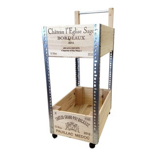 French Wine Box Industrial Bar Cart