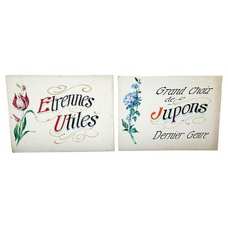 1940s Hand-Painted French Boutique Signs - PAir