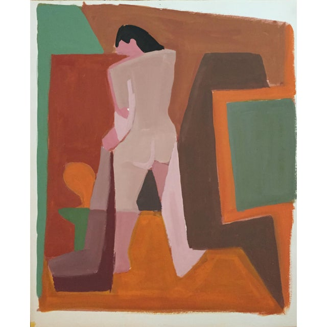 Mid-Century Gouache Cubist Female Nude Painting - Image 2 of 7