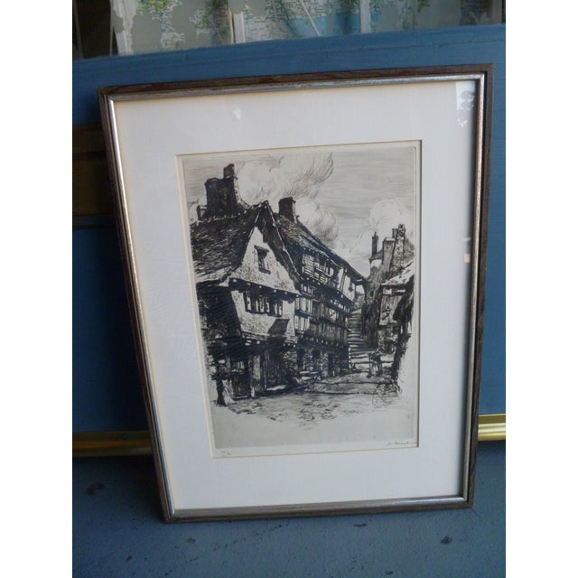 Original Etching of European Village Scene | Chairish