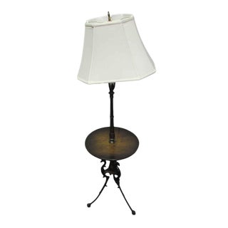 Wooden Floor Lamp with Table