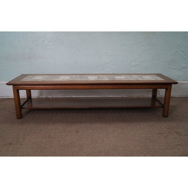 Mid Century Modern Long Walnut Coffee Table - Image 2 of 10