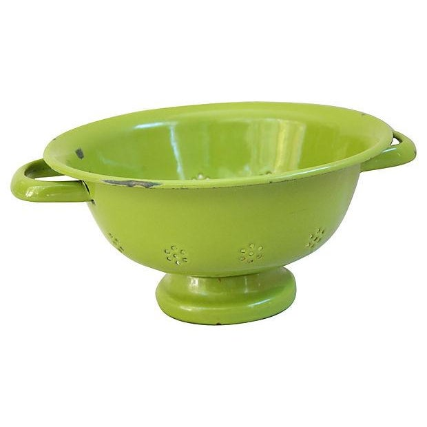 Image of 1930s Green French Porcelain Colander