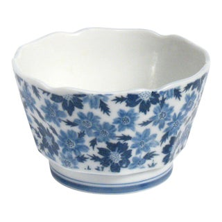 Blue and White Floral Japanese Bowl