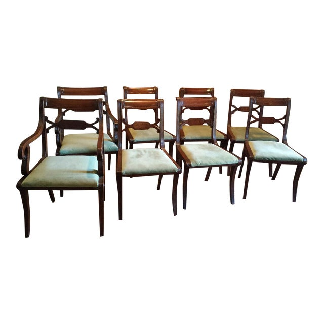 Regency antique dining room chairs set of 8 chairish for Antique dining room chairs