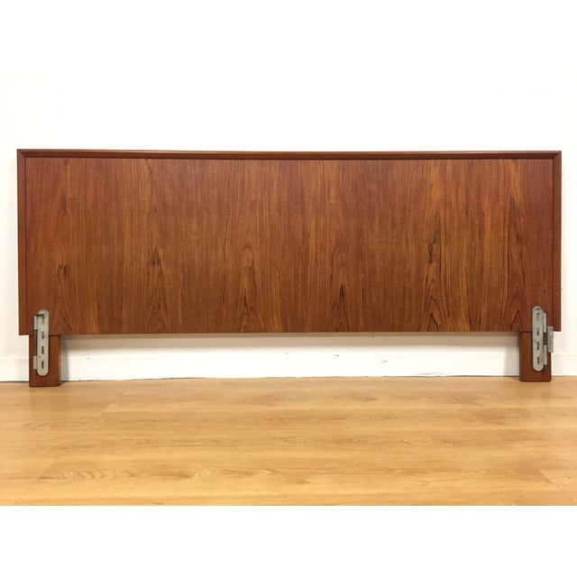 teak king size headboard mid century modern chairish. Black Bedroom Furniture Sets. Home Design Ideas