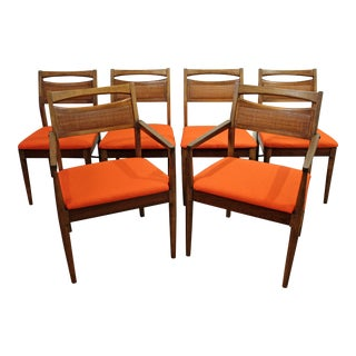 American of Martinsville Mid-Century Caned Walnut Dining Chairs - Set of 6