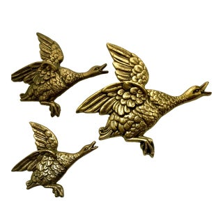 Hollywood Regency Brass Flying Geese Wall Plaques - Set of 3