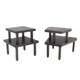 Non Matching Pair of Cerused Finish Step End Tables