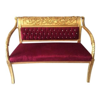 French Louis XVI Style Red & Gold Settee