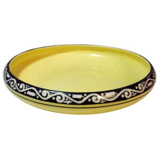 Yellow Czech Decorated Low Bowl by Peche