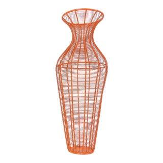 Tall Mid-Century Modern Orange Metal Wire Vase Dry Flower Display Stand