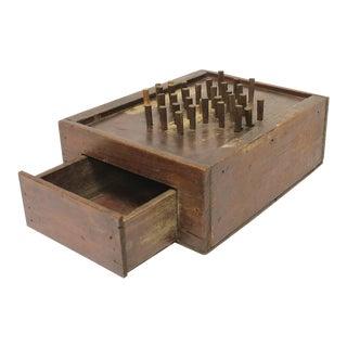 Antique Folk Art Aggravation Wooden Box Peg Board Game