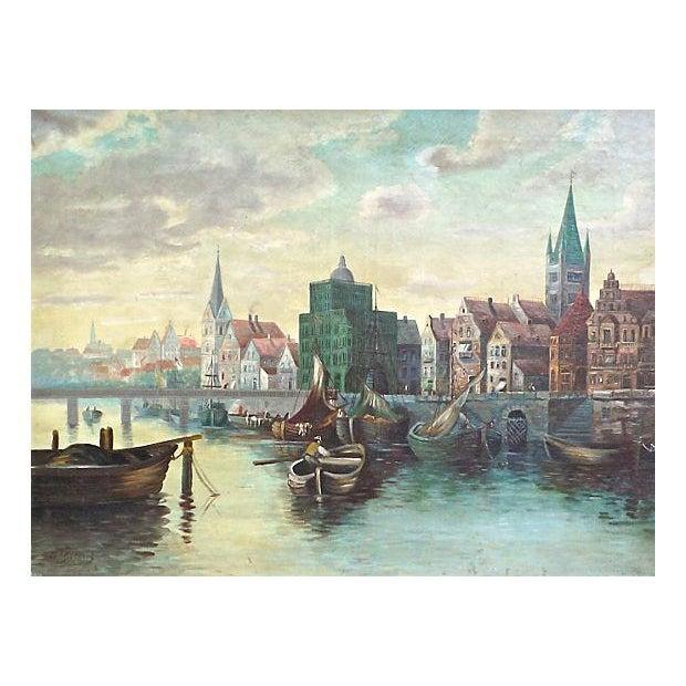 O. Gilbert Antique Harbor Scene Oil Painting - Image 2 of 4