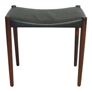 Rosewood and Leather Stool by Ejner Larsen and A. Bender Madsen