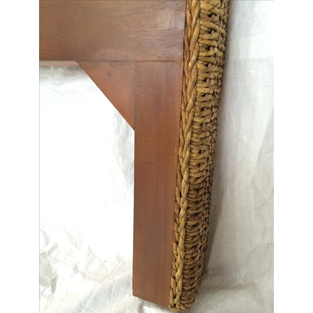Woven Rattan and Teak Headboards - Pair - Image 4 of 9