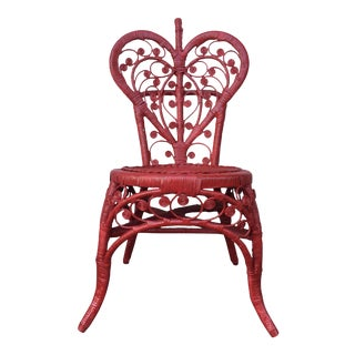 Red Heart Back Wicker Accent Chair
