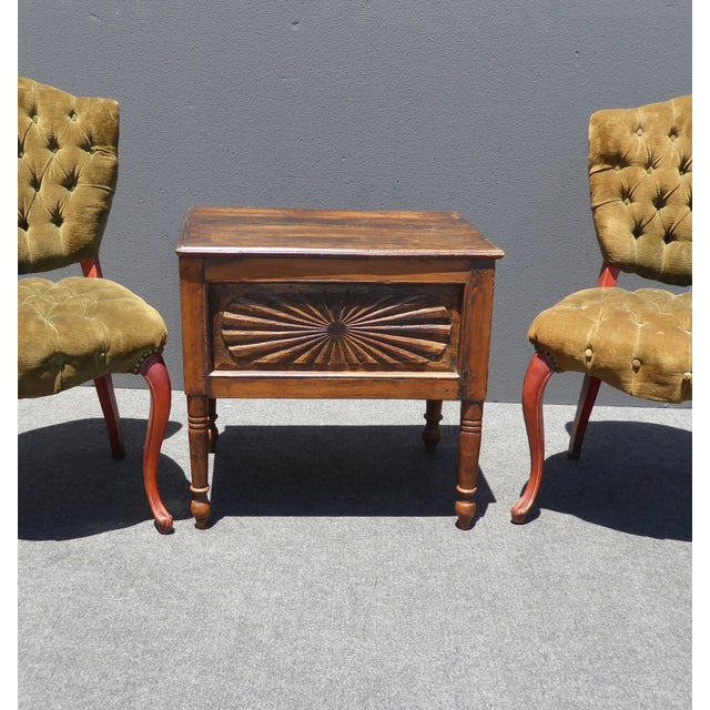 Spanish Style Carved Wood Chest End Table - Image 5 of 11