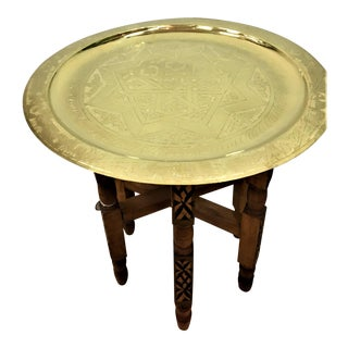 Moroccan Engraved Gold Tray Table